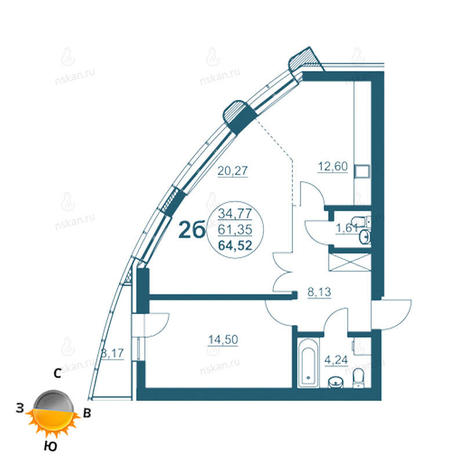 Вариант №955, 2-комнатная квартира в жилом комплексе Флотилия