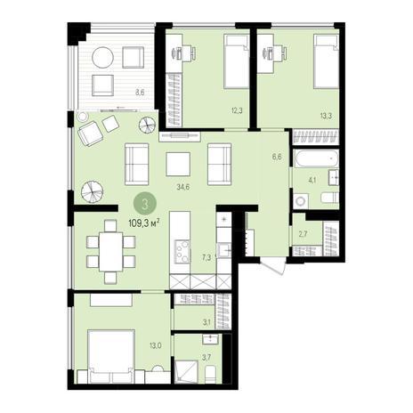 Вариант №5524, 4-комнатная квартира в жилом комплексе