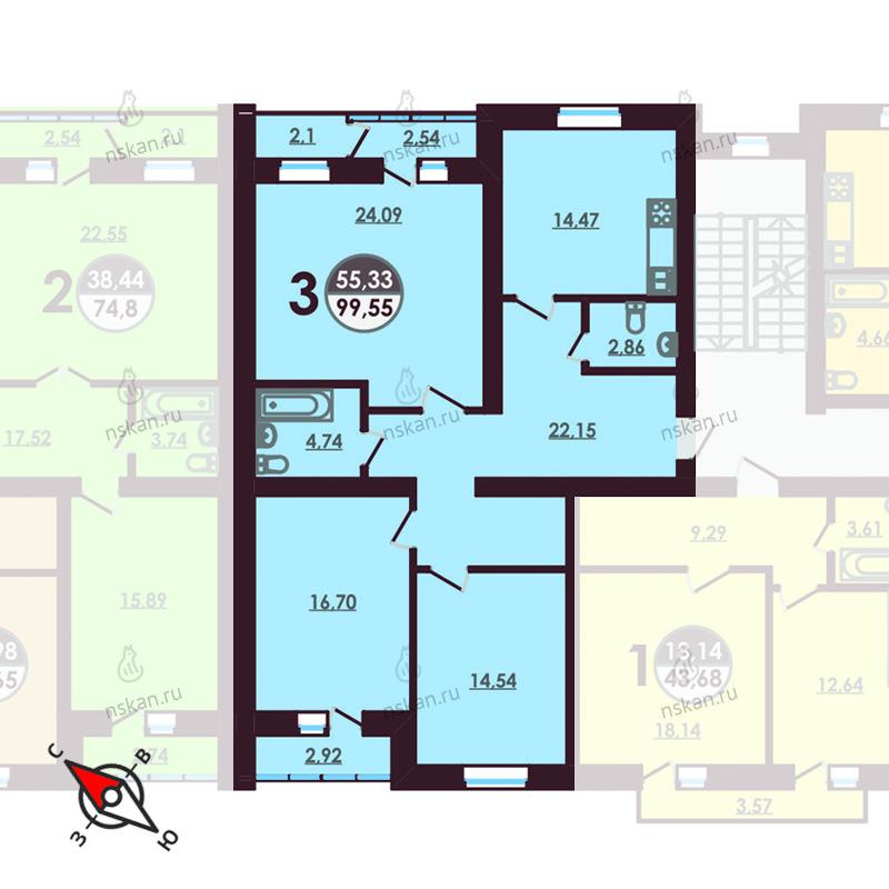 Планировка 3-комнатная площадью 99.45 м<sup>2</sup> в ЖК Ключевой