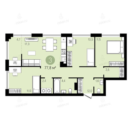 Вариант №2640, 4-комнатная квартира в жилом комплексе Квартал на Никитина
