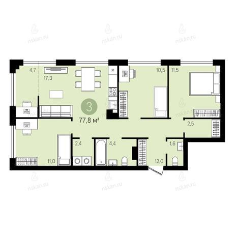 Вариант №2640, 4-комнатная квартира в жилом комплексе