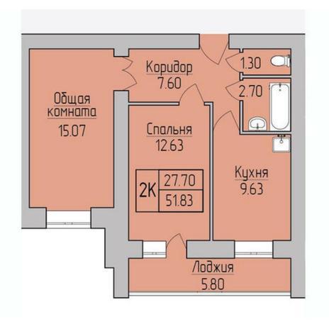 Вариант №5370, 2-комнатная квартира в жилом комплексе