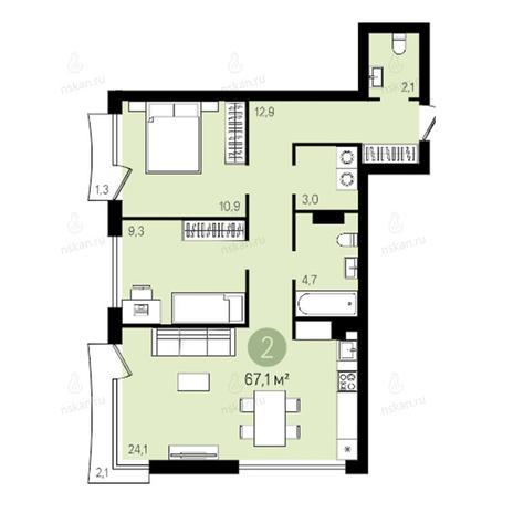 Вариант №2378, 3-комнатная квартира в жилом комплексе Квартал на Никитина