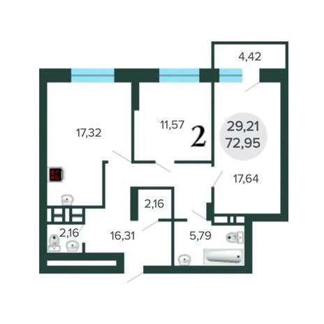 Вариант №5630, 3-комнатная квартира в жилом комплексе NOVA-дом