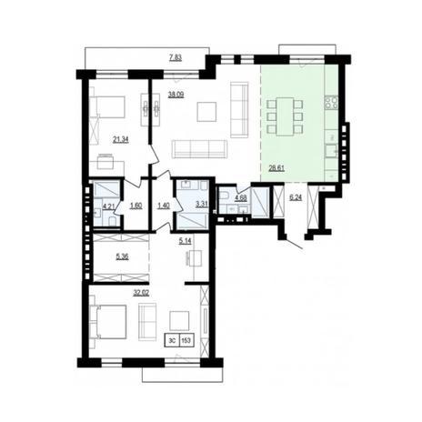 Вариант №6042, 3-комнатная квартира в жилом комплексе