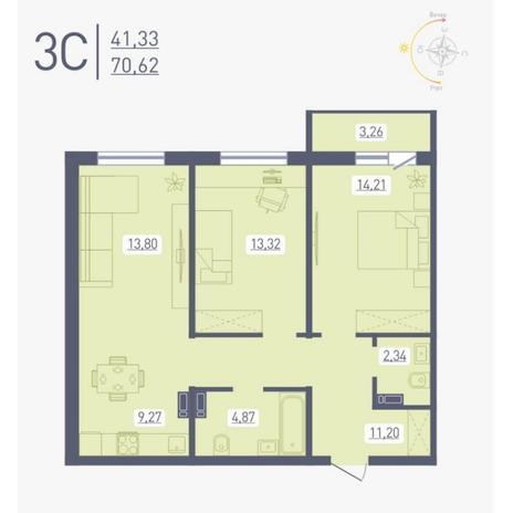 Вариант №4887, 3-комнатная квартира в жилом комплексе Радуга Сибири