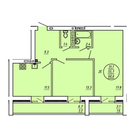 Вариант №3607, 3-комнатная квартира в жилом комплексе