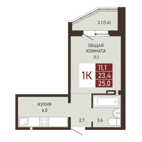 Вариант №3664, 1-комнатная квартира в жилом комплексе