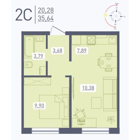 Вариант №5559, 2-комнатная квартира в жилом комплексе