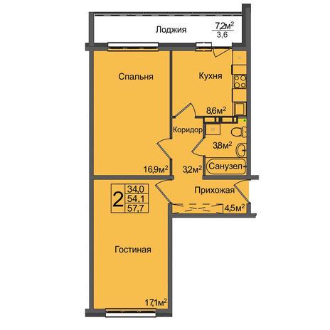 Вариант №3895, 2-комнатная квартира в жилом комплексе