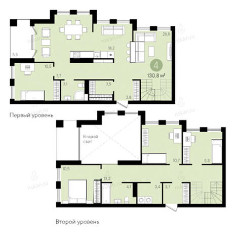 Вариант №2801, 4-комнатная квартира в жилом комплексе Европейский Берег