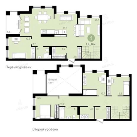 Вариант №2801, 4-комнатная квартира в жилом комплексе