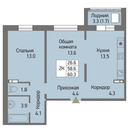 Вариант №3870, 2-комнатная квартира в жилом комплексе Акварельный 3.0