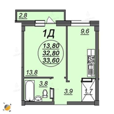 Вариант №2353, 1-комнатная квартира в жилом комплексе Аэропорт