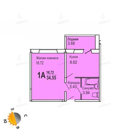 Вариант №723, 1-комнатная квартира в жилом комплексе Софийский квартал