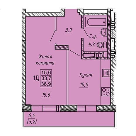 Вариант №3278, 1-комнатная квартира в жилом комплексе Ника