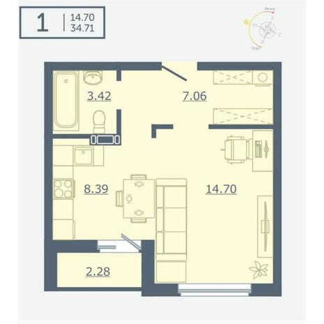 Вариант №4755, 1-комнатная квартира в жилом комплексе