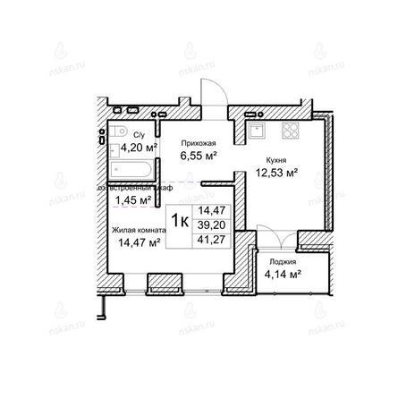 Вариант №1045, 1-комнатная квартира в жилом комплексе Потанинская 2