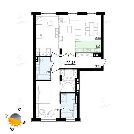 Вариант №871, 3-комнатная квартира в жилом комплексе Жуковка