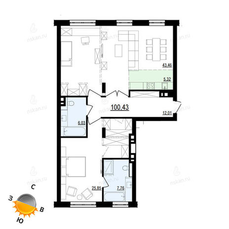 Вариант №871, 3-комнатная квартира в жилом комплексе