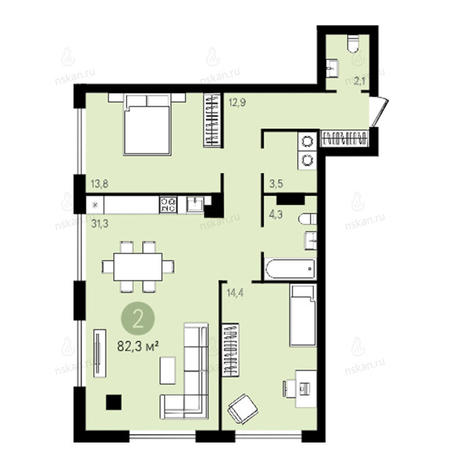 Вариант №2632, 3-комнатная квартира в жилом комплексе