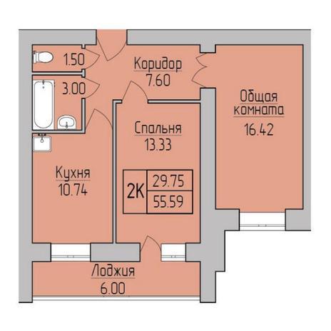Вариант №5363, 2-комнатная квартира в жилом комплексе