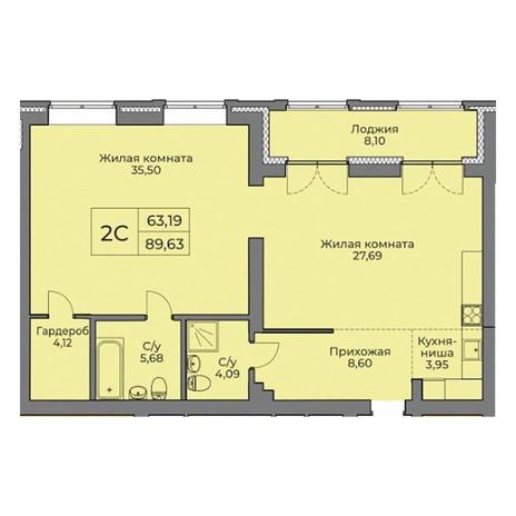 Вариант №3531, 2-комнатная квартира в жилом комплексе