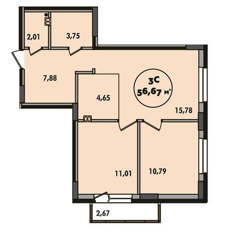 Вариант №5500, 3-комнатная квартира в жилом комплексе Эскимо
