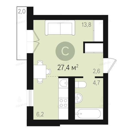 Вариант №2676, 1-комнатная квартира в жилом комплексе Дунаевский