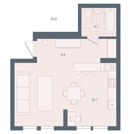 Вариант №5891, 1-комнатная квартира в жилом комплексе