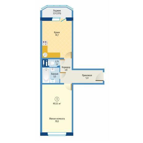Вариант №6078, 1-комнатная квартира в жилом комплексе Матрешкин двор