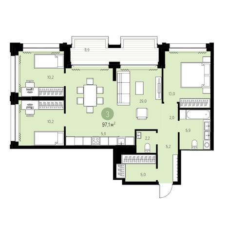 Вариант №5440, 4-комнатная квартира в жилом комплексе