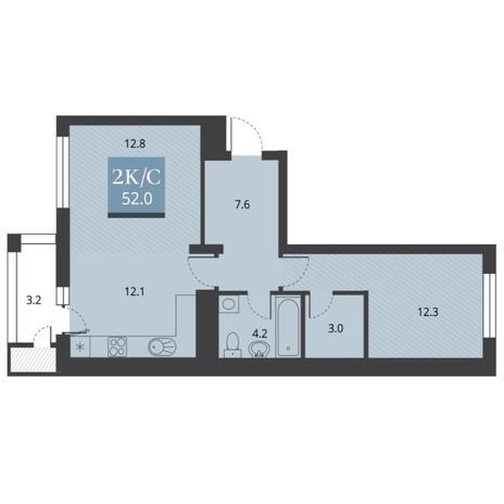 Вариант №5670, 2-комнатная квартира в жилом комплексе