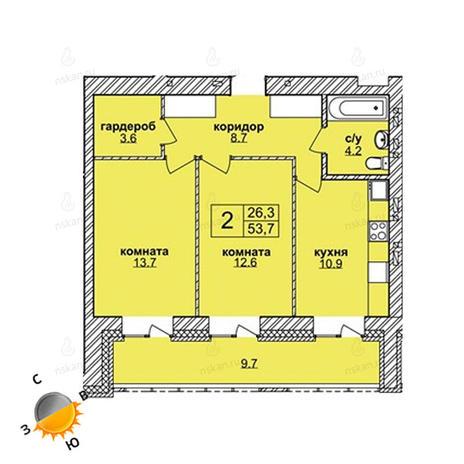 Вариант №1594, 2-комнатная квартира в жилом комплексе