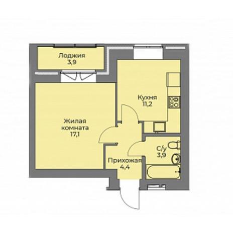 Вариант №4402, 1-комнатная квартира в жилом комплексе Эскимо