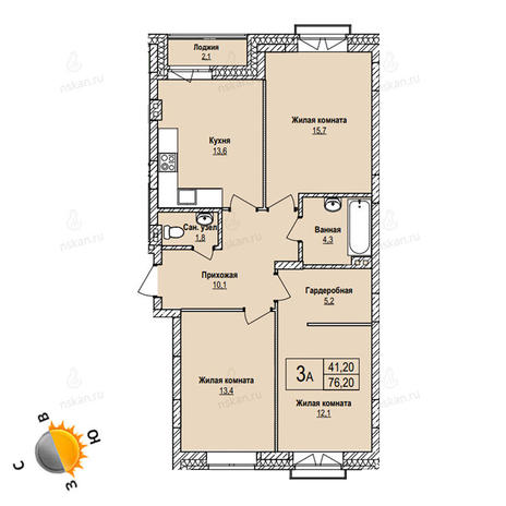Вариант №1099, 3-комнатная квартира в жилом комплексе