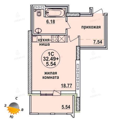 Вариант №1333, 1-комнатная квартира в жилом комплексе Заельцовский