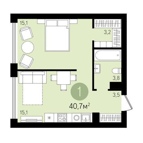 Вариант №3290, 1-комнатная квартира в жилом комплексе Ясный берег