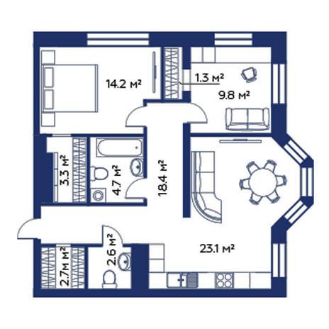 Вариант №3784, 3-комнатная квартира в жилом комплексе Montblanc