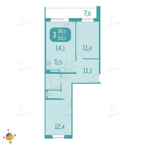 Вариант №2332, 3-комнатная квартира в жилом комплексе Аквамарин