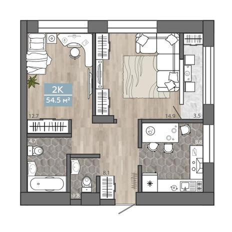 Вариант №3105, 2-комнатная квартира в жилом комплексе