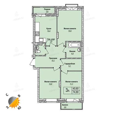 Вариант №1243, 3-комнатная квартира в жилом комплексе