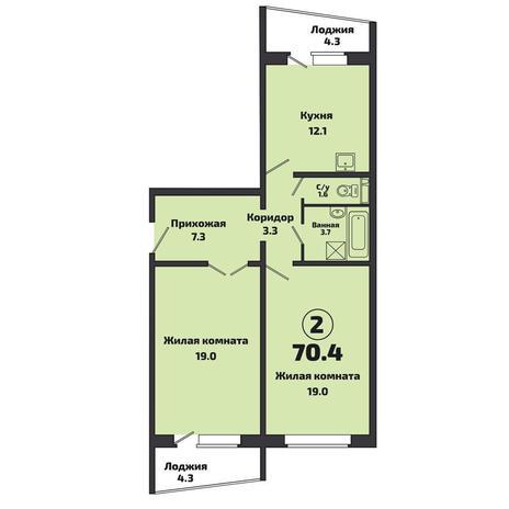 Вариант №3810, 2-комнатная квартира в жилом комплексе