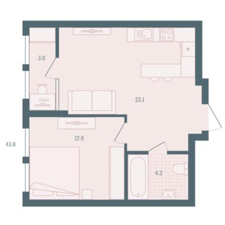 Вариант №5928, 1-комнатная квартира в жилом комплексе