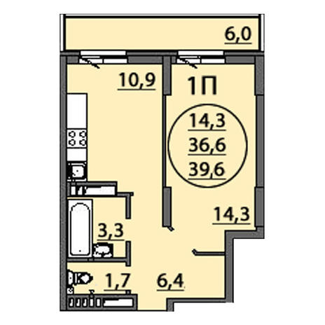 Вариант №2507, 1-комнатная квартира в жилом комплексе Родники