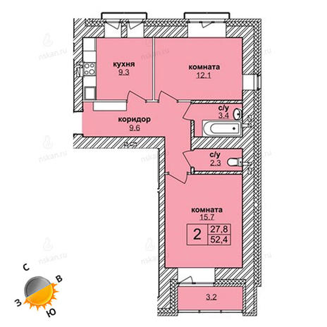 Вариант №1617, 2-комнатная квартира в жилом комплексе Северная корона