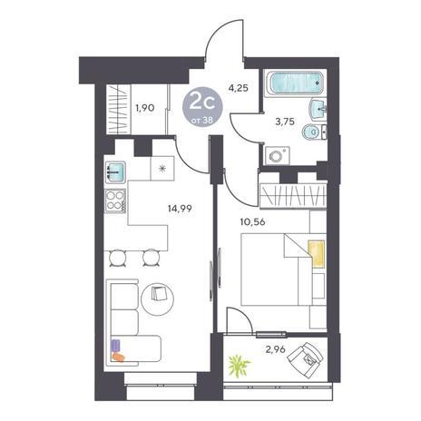 Вариант №5122, 2-комнатная квартира в жилом комплексе Ясный берег