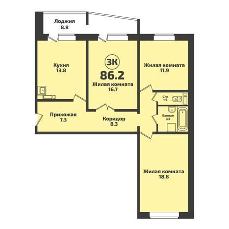 Вариант №5712, 3-комнатная квартира в жилом комплексе