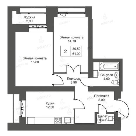 Вариант №2701, 2-комнатная квартира в жилом комплексе Дом на Садовой