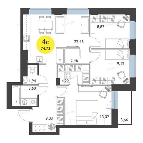 Вариант №2779, 4-комнатная квартира в жилом комплексе Ясный берег